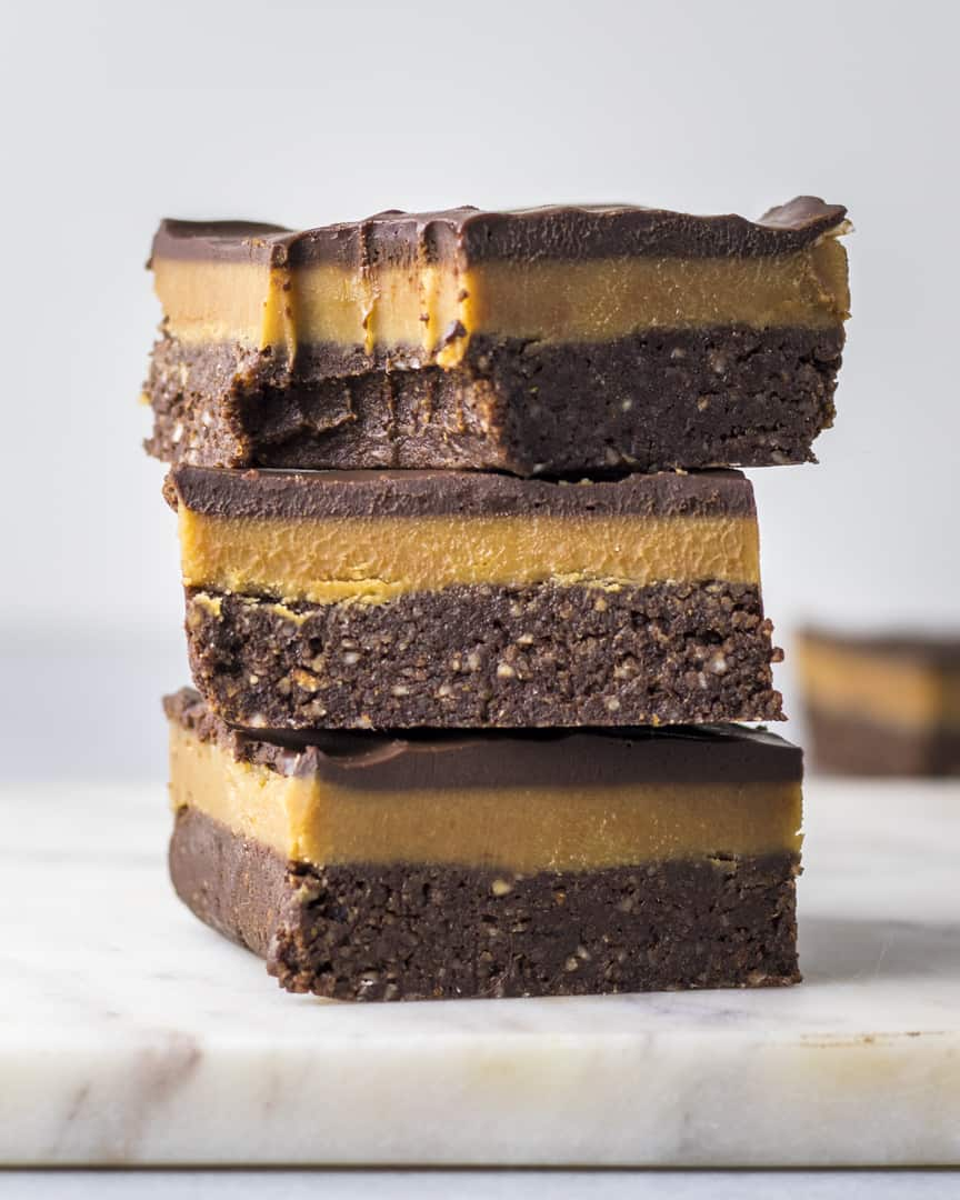 Vegan Brownies with Peanut Butter Caramel