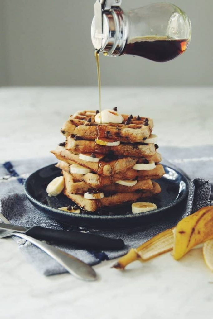 Chocolate Chip Banana Waffles by Hot For Food. Are you going vegan for a month this January? Here are 31 easy vegan recipes to try this veganuary!